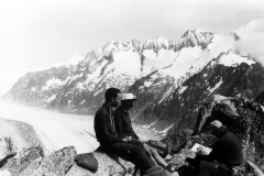 Lunch on the summit overlooking Aletsch glacier
